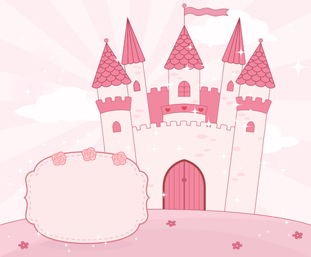 castle: Cartoon fairy tale castle background with place for text. Vector.