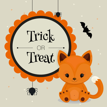 little people: Halloween card or background with little fox. Vector illustration.