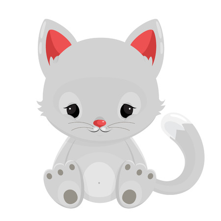 wiskers: White cat isolated on white background. Vector illustration.