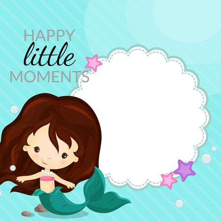 child girl: Frame with mermaid and place for text. Vector. Illustration