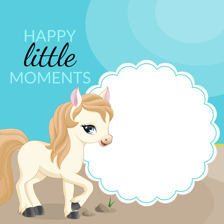 mignonne petite fille: Cadre avec poney et place pour le texte. Vecteur.