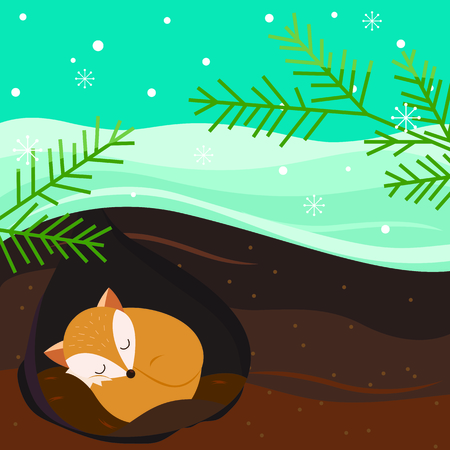burrow: Let it snow. Fox sleeping in the hole. Holiday background.