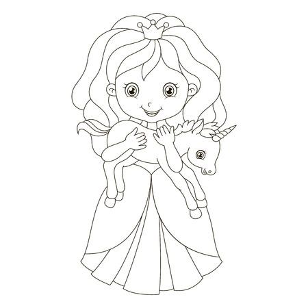 Illustration der schönen Prinzessin mit Baby Einhorn. Standard-Bild - 49647797