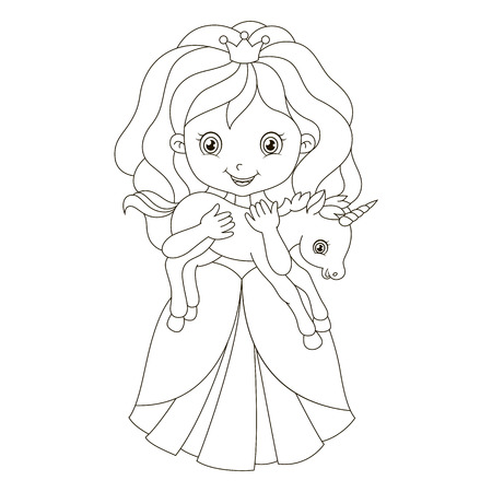 Illustration of beautiful princess with baby unicorn.