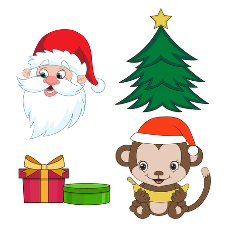 serie: Christmas clip-art set in cartoon style. Year of the monkey.