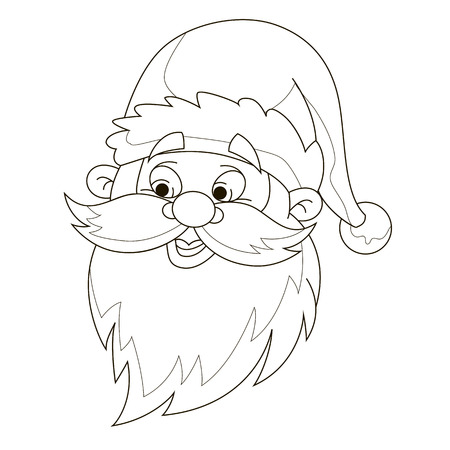 santas head coloring page stock vector 49642931