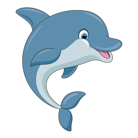 Leuke cartoon dolfijn illustratie met eenvoudige gradiënten. Alles in een enkele laag.