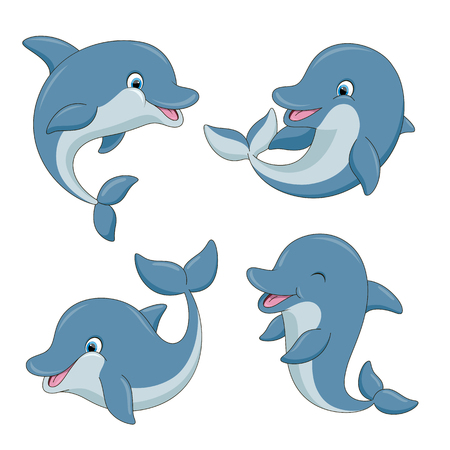 Cute cartoon dolphins set. Vector illustration with simple gradients. All in a single layer. Vettoriali