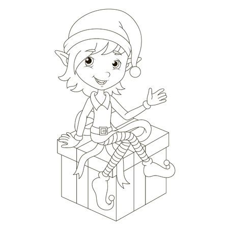 santa girl: Cute Christmas elf sitting on gift.  Illustration