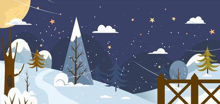 snow landscape: Landscape. Banner or backfround with winter nature.