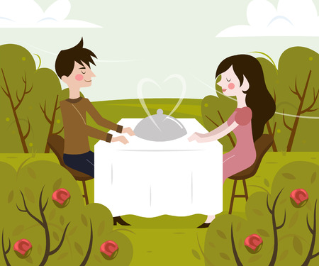 romantic woman: Vector illustration of romantic date of man and woman in restaurant on nature.