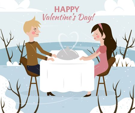 dinner date: Valentines day card illustration of romantic date of man and woman in restaurant on nature.
