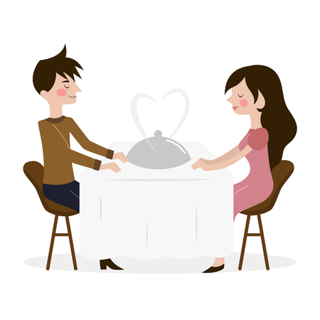 dinner date: Vector illustration of romantic date of man and woman in restaurant. Illustration