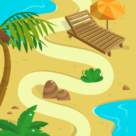 unexplored: Tropical Island background. Template for your design.  Illustration