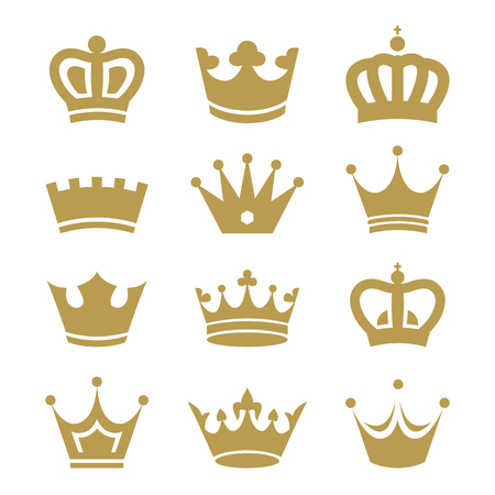 emperor: Crown icons isolated on white background.