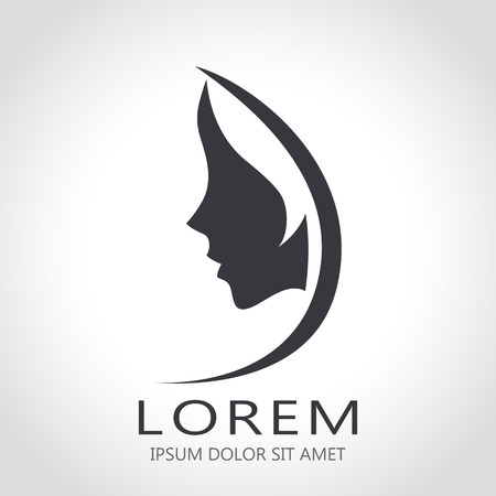 Template abstract logo for woman salons and shops. Stylized profile of a young beautiful woman. Abstract logo for a beauty salon. Portrait of a girl.