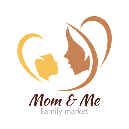 baby mother: Logo mother and her baby. Healthcare or baby shop logo. Template for your design. Mom and me center.