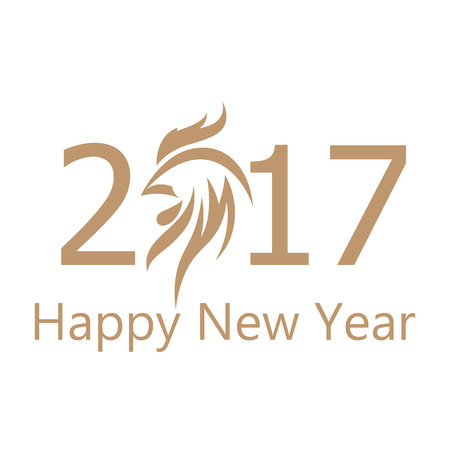 Happy New Year 2017 golden numbers. Year of the fire rooster. Rooster symbol replacing 0. illustration isolated on white background. Иллюстрация