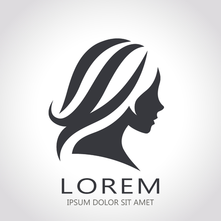 black woman face: Template abstract logo for woman salons and shops. Stylized profile of a young beautiful woman. Abstract logo for a beauty salon. Portrait of a girl.
