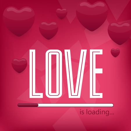 indicate: 14 february or wedding poster.Typography. Love is loading.
