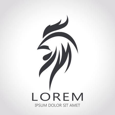 bird beaks: Abstarct rooster Logo template.