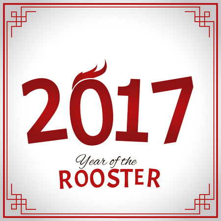 Happy New Year 2017 red numbers. Year of the fire rooster. Illustration