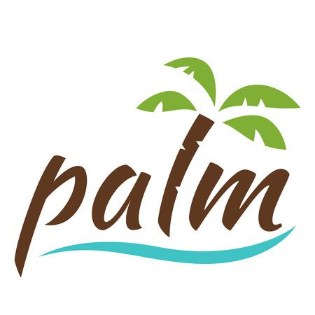 island paradise: Water with palm logo for holiday business. illustration isolated on white background. Illustration