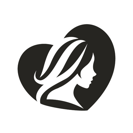 profile: Vector template abstract logo for woman salons and shops. Stylized profile of a young beautiful woman. Abstract logo for a beauty salon. Portrait of a girl. Vector abstract logo.