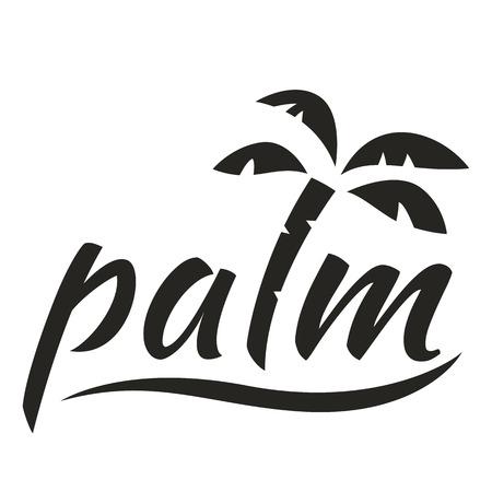 El agua con el logotipo de la palma para el negocio de vacaciones. Ilustración del vector aislado en el fondo blanco.