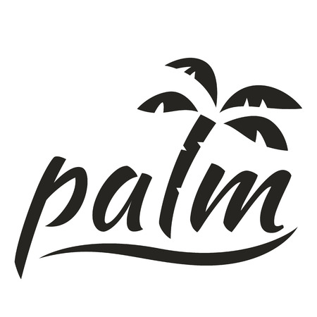 Water with palm logo for holiday business. Vector illustration isolated on white background.