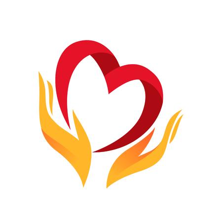 alegria: Corazón en la mano símbolo, muestra, icono, logotipo de la plantilla para la caridad, la salud, la organización no lucrativa voluntaria, no, aislado en fondo blanco, ilustración vectorial