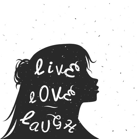 laughs: typography poster with black woman silhouette and quote. Live, love, laugh. Inspiration and motivation vintage style illustration with text. For posters, cards,t-shirts, home decoration