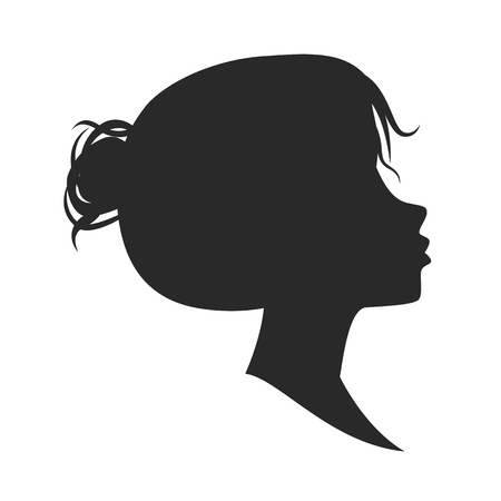 cameo: Female silhouette isolated on white background. illustration.