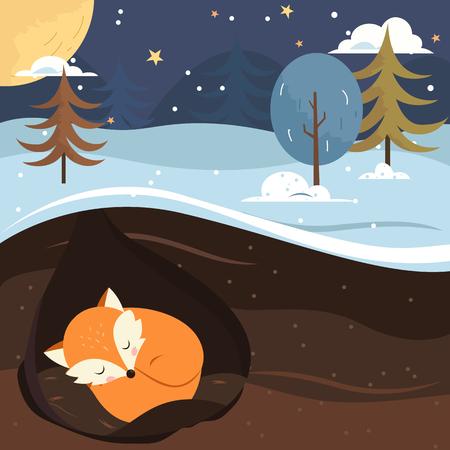Deja que nieve. Fox durmiendo en el agujero. Vacaciones de fondo.