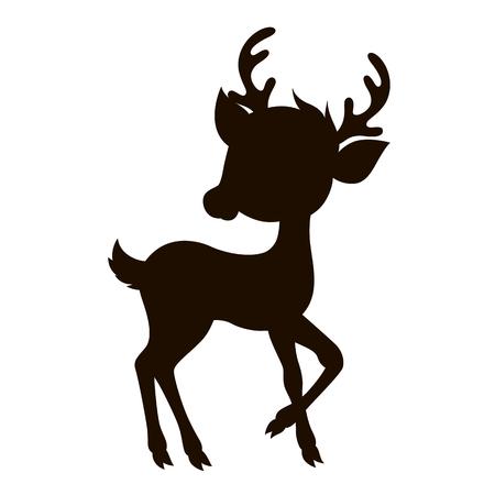 Stilizzato silhouette cartone animato reindreer. Vettoriale illustrazione isolato su sfondo bianco. Archivio Fotografico - 51566378