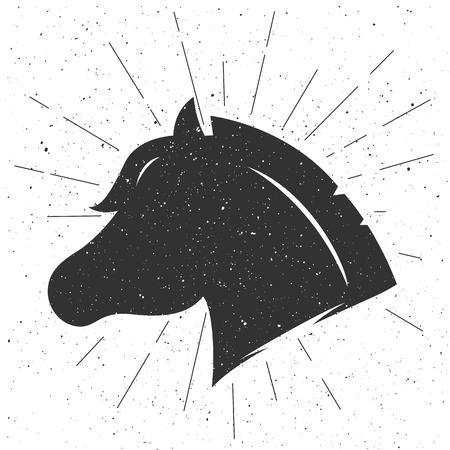 carreras de caballos: silueta de la cabeza de caballo en estilo retro. Muestra del vector aislado en el fondo blanco. logotipo de la plantilla. Vectores