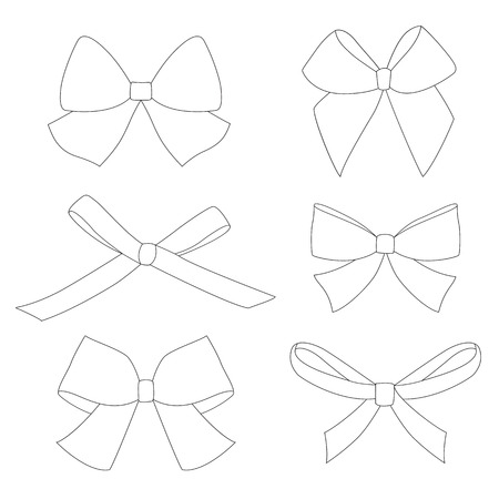 Set of graphical decorative bows. Vector illustration isolated on white background. White color is transparent. Ilustrace