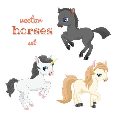 Set of funny cartoon horses in action. Vector illustration.
