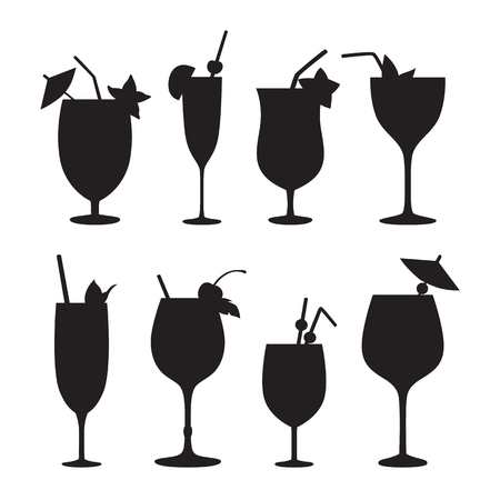 white party: Cocktail vector silhouettes. Black icons isolated on white background.