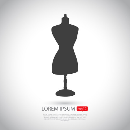 dress form: Mannequin icon. Flat design. Vector illustration. Mannequin icon EPS10. Illustration