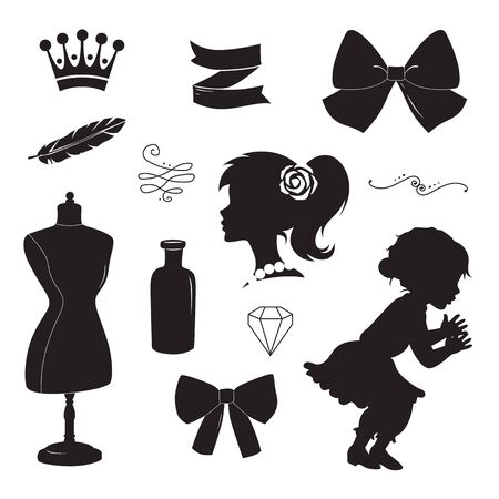 silhouette woman: Vintage elements set. Vector silhouettes isolated on white background. Illustration