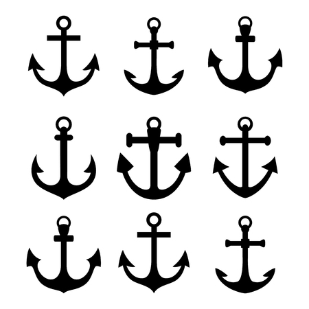 anchored: Set of anchor symbols. Black silhouettes isolated on white background. Vector EPS10.