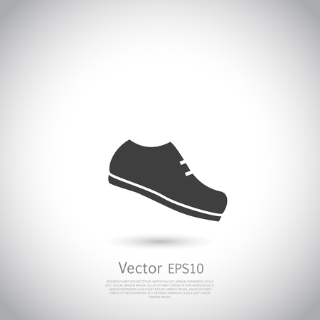 jogging: Running shoe icon. Vector illustration. Black silhouette on gray background.