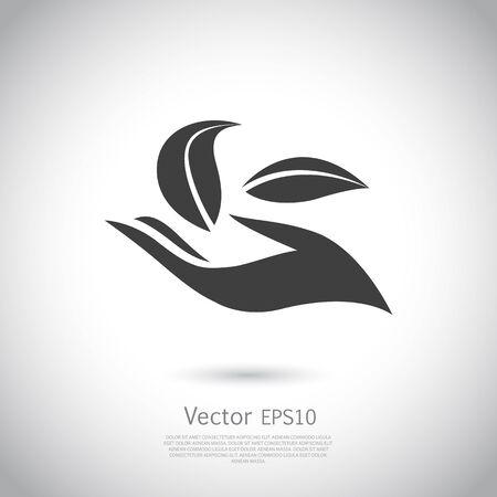 cogidos de la mano: Producto natural plantilla de diseño de iconos. Ilustración del vector. signo de producto natural. EPS10 icono. Vectores