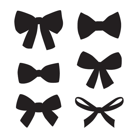 black: Set of graphical decorative bows. Vector sillouettes isolated on white background.