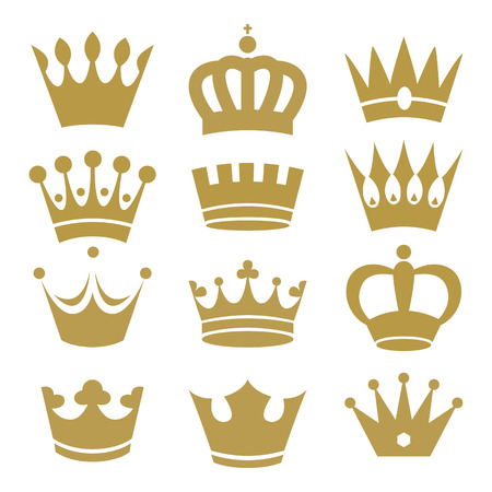 coronation: Crown icons isolated on white background. Vector.