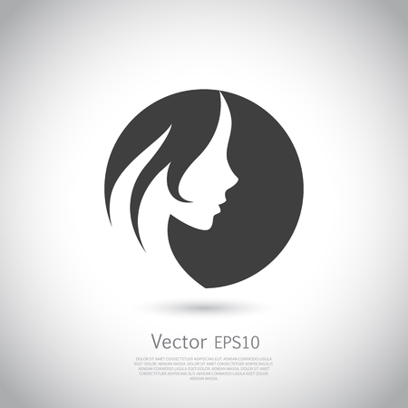 Beautiful woman logo for beauty salon, spa salon, firm or company. Vector illustration.
