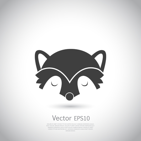 Racoon icon. Vector illustration on gray background.