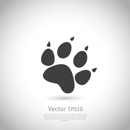Cat paw print vector icon - black silhouette on gray background.