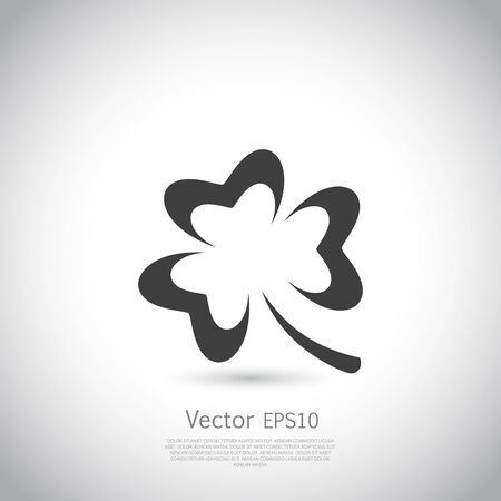 trefoil: Trefoil symbol icon or logo template. Vector silhouette on gray background.